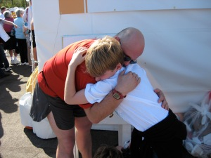 Sharing a tear with my son at the family reunion area at WDW Marathon 2009