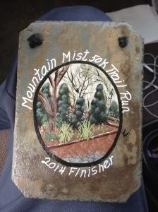 Hand-painted finishers slate.  We certainly ran over a lot of it to earn this cool finishers award