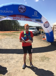 At the finish of Lake Martin 100. I did it.